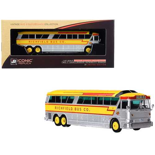 """1970 MCI MC-7 Challenger Intercity Motorcoach """"Richfield Bus Co."""" """"Excelsior - Minneapolis"""" Minnesota (U.S.A.) Silver and Yellow """"Vintage Bus & Motorcoach Collection"""" 1/87 (HO) Diecast"""