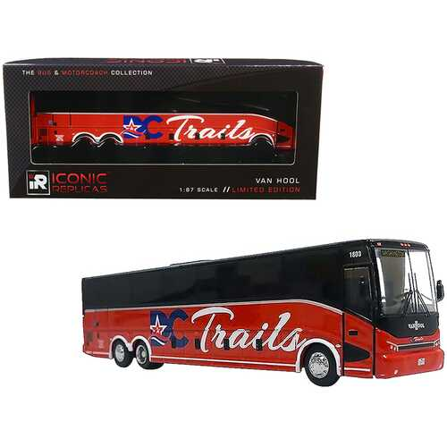 """Van Hool CX-45 Bus """"DC Trails"""" (Washington D.C.) Red and Black """"The Bus & Motorcoach Collection"""" 1/87 Diecast Model by Iconic Replicas"""