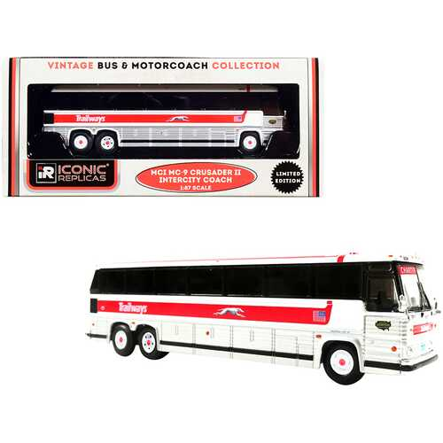 """1980 MCI MC-9 Crusader II Intercity Coach Bus """"Trailways"""" White and Silver with Red Stripe """"Vintage Bus & Motorcoach Collection"""" 1/87 (HO) Diecast Model by Iconic Replicas"""