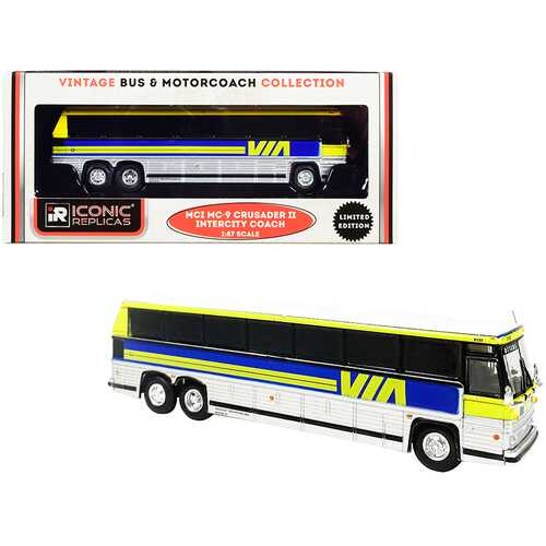 """1980 MCI MC-9 Crusader II Intercity Coach Bus """"Via Rail"""" (Canada) Yellow and Silver with Blue Stripes """"Vintage Bus & Motorcoach Collection"""" 1/87 (HO) Diecast Model by Iconic Replicas"""
