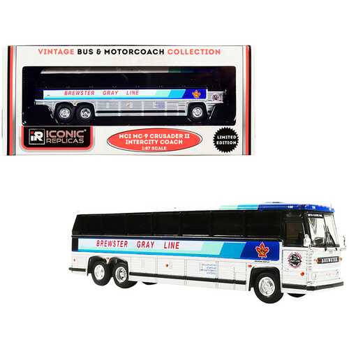 """1980 MCI MC-9 Crusader II Intercity Coach Bus """"Brewster Gray Line"""" (Canada) White and Silver with Stripes """"Vintage Bus & Motorcoach Collection"""" 1/87 (HO) Diecast Model by Iconic Replicas"""