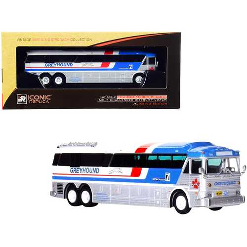 """1970 MCI MC-7 Challenger Intercity Coach Bus """"Greyhound Canada"""" White and Silver with Stripes """"Vintage Bus & Motorcoach Collection"""" 1/87 (HO) Diecast Model by Iconic Replicas"""
