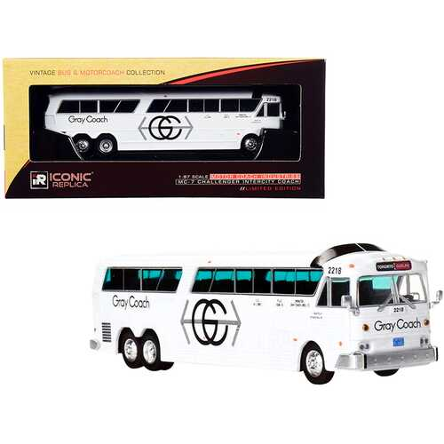 """MCI MC-7 Challenger Intercity Coach Bus White """"Gray Coach"""" Toronto - Guelph (Canada) """"Vintage Bus & Motorcoach Collection"""" 1/87 (HO) Diecast Model by Iconic Replicas"""
