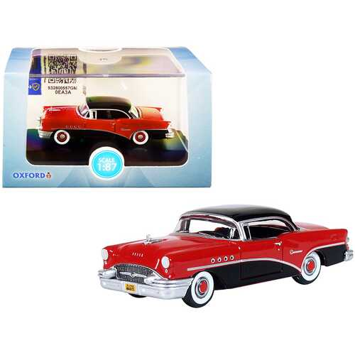 1955 Buick Century Carlsbad Black and Cherokee Red 1/87 (HO) Scale Diecast Model Car by Oxford Diecast