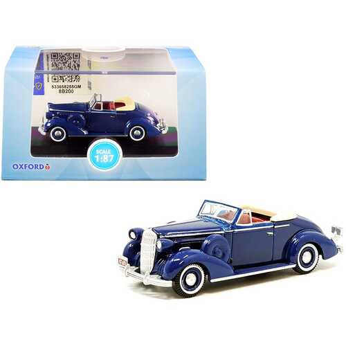 1936 Buick Special Convertible Coupe Musketeer Blue 1/87 (HO) Scale Diecast Model Car by Oxford Diecast