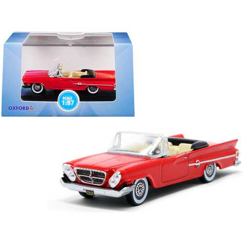 1961 Chrysler 300 Convertible Mardi Gras Red 1/87 (HO) Scale Diecast Model Car by Oxford Diecast