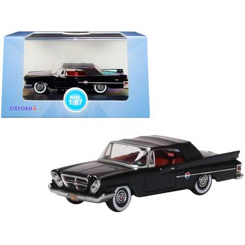 1961 Chrysler 300 Closed Convertible Black with Red Interior 1/87 (HO) Scale Diecast Model Car by Oxford Diecast