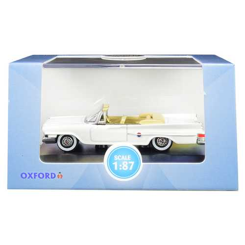 1961 Chrysler 300 Convertible Alaskan White 1/87 (HO) Scale Diecast Model Car by Oxford Diecast