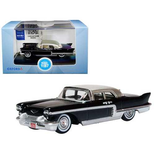 1957 Cadillac Eldorado Brougham Ebony Black with Silver Metallic Top 1/87 (HO) Scale Diecast Model Car by Oxford Diecast