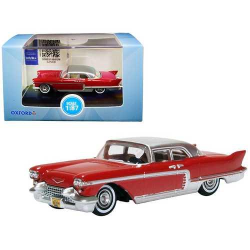 1957 Cadillac Eldorado Brougham Dakota Red with Silver Metallic Top 1/87 (HO) Scale Diecast Model Car by Oxford Diecast