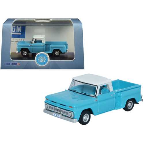 1965 Chevrolet C10 Stepside Pickup Truck Light Blue with White Top 1/87 (HO) Scale Diecast Model Car by Oxford Diecast
