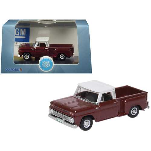 1965 Chevrolet C10 Stepside Pickup Truck Metallic Maroon with White Top 1/87 (HO) Scale Diecast Model Car by Oxford Diecast
