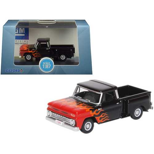 "1965 Chevrolet C10 Stepside Pickup Truck Black with Flames ""Hot Rod"" 1/87 (HO) Scale Diecast Model Car by Oxford Diecast"
