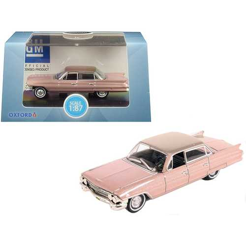 1961 Cadillac Sedan DeVille Metallic Pink 1/87 (HO) Scale Diecast Model Car by Oxford Diecast