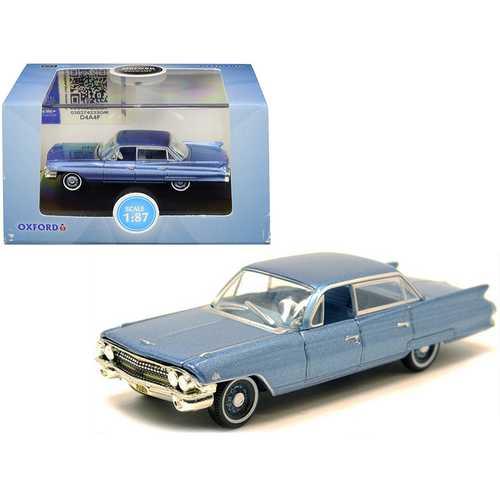 1961 Cadillac Sedan DeVille Nautilus Blue Metallic with Blue Interior 1/87 (HO) Scale Diecast Model Car by Oxford Diecast