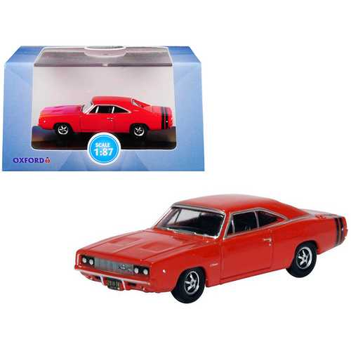 1968 Dodge Charger Bright Red with Black Stripes 1/87 (HO) Scale Diecast Model Car by Oxford Diecast