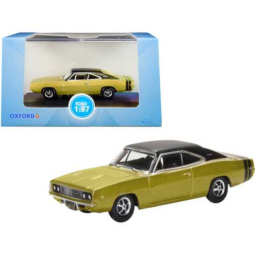 1968 Dodge Charger Gold with Black Top and Black Stripes 1/87 (HO) Scale Diecast Model Car by Oxford Diecast