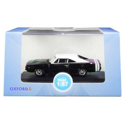 1968 Dodge Charger Black with White Top and White Stripes 1/87 (HO) Scale Diecast Model Car by Oxford Diecast
