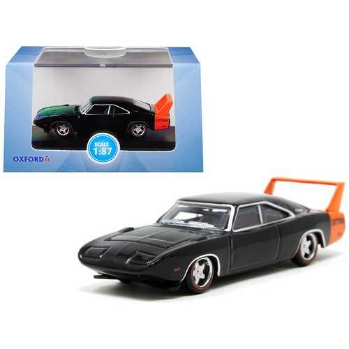 1969 Dodge Charger Daytona Black with Orange Stripe 1/87 (HO) Scale Diecast Model Car by Oxford Diecast