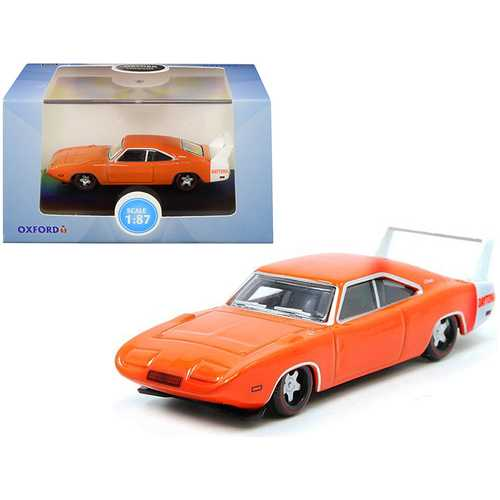 1969 Dodge Charger Daytona Orange with White Stripe 1/87 (HO) Scale Diecast Model Car by Oxford Diecast