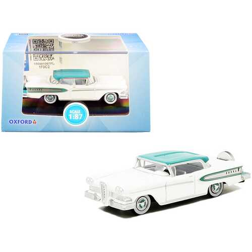 1958 Edsel Citation Snow White and Turquoise 1/87 (HO) Scale Diecast Model Car by Oxford Diecast
