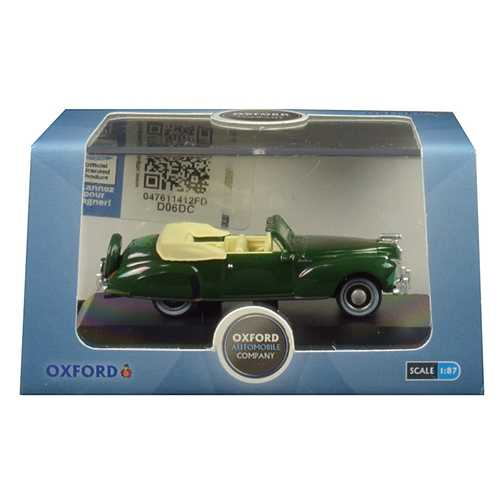 1941 Lincoln Continental Convertible Spode Green 1/87 (HO) Scale Diecast Model Car by Oxford Diecast