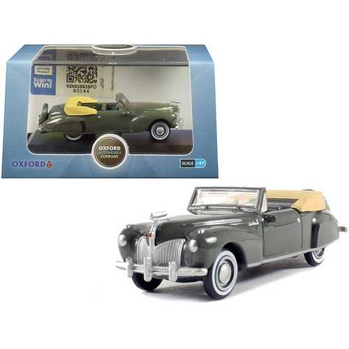 1941 Lincoln Continental Convertible Pewter Gray 1/87 (HO) Scale Diecast Model Car by Oxford Diecast