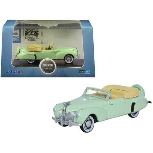1941 Lincoln Continental Convertible Paradise Green 1/87 (HO) Scale Diecast Model Car by Oxford Diecast