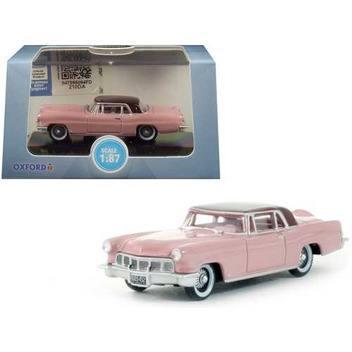 1956 Lincoln Continental Mark II Pink with Dubonnet Red Top 1/87 (HO) Scale Diecast Model Car by Oxford Diecast