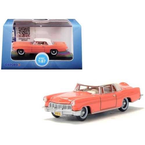 1956 Lincoln Continental Mark II Island Coral with Starmist White Top 1/87 (HO) Scale Diecast Model Car by Oxford Diecast