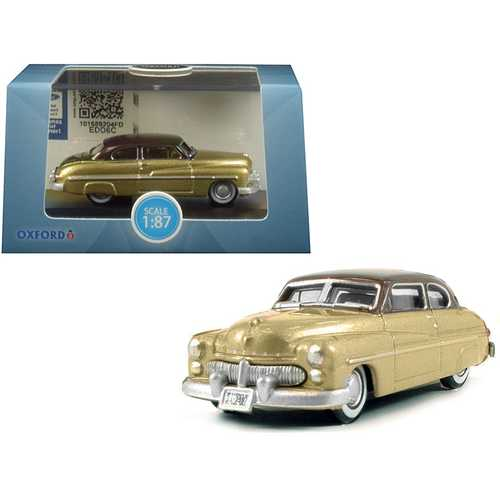 1949 Mercury Coupe Gold with Dark Brown Top 1/87 (HO) Scale Diecast Model Car by Oxford Diecast