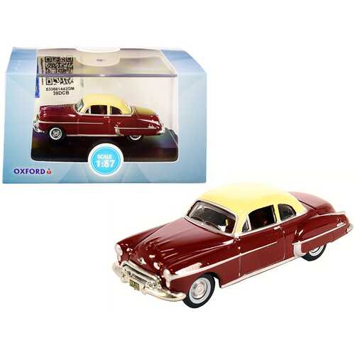 1950 Oldsmobile Rocket 88 Coupe Chariot Red with Canto Cream Top 1/87 (HO) Scale Diecast Model Car by Oxford Diecast