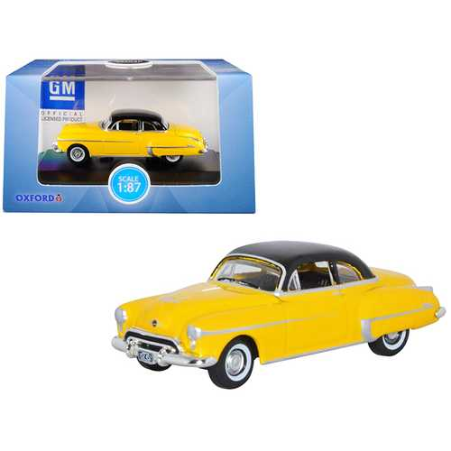 1950 Oldsmobile Rocket 88 Coupe Yellow with Black Top 1/87 (HO) Scale Diecast Model Car by Oxford Diecast
