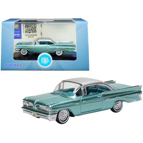 1959 Pontiac Bonneville Coupe Seaspray Green with Silver Top 1/87 (HO) Scale Diecast Model Car by Oxford Diecast