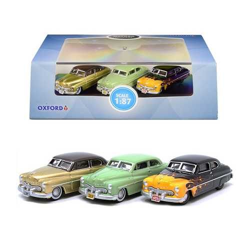 "1949 Mercury Set of 3 Cars ""70th Anniversary"" 1/87 (HO) Scale Diecast Model Cars by Oxford Diecast"