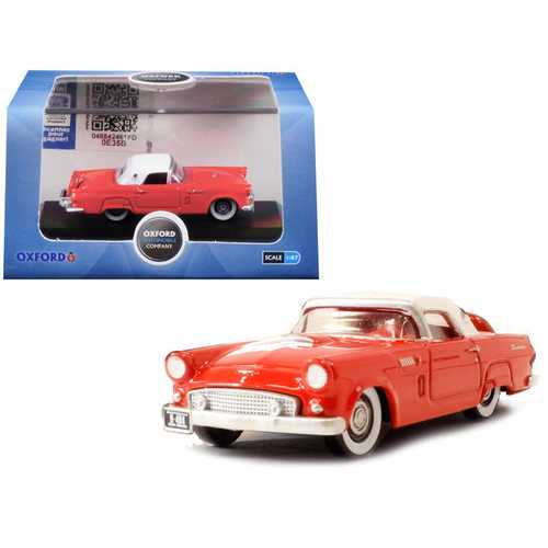 1956 Ford Thunderbird Fiesta Red with Colonial White Top 1/87 (HO) Scale Diecast Model Car by Oxford Diecast