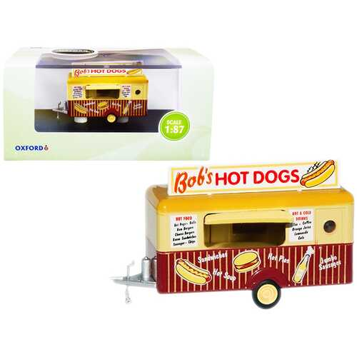 """""""Bob's Hot Dogs"""" Mobile Food Trailer 1/87 (HO) Scale Diecast Model by Oxford Diecast"""