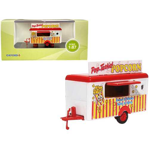 """Mobile Food Trailer """"Popcorn"""" 1/87 (HO) Scale Diecast Model by Oxford Diecast"""