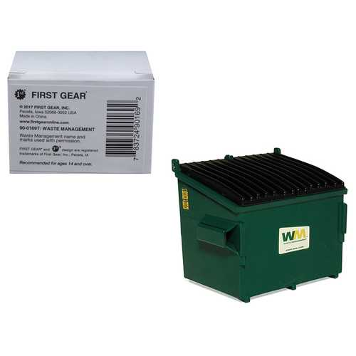"Refuse Trash Bin ""Waste Management"" Green 1/34 Diecast Model by First Gear"