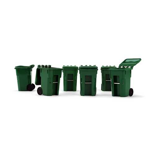 Set of 6 Green Garbage Trash Bin Containers Replica 1/34 Models by First Gear