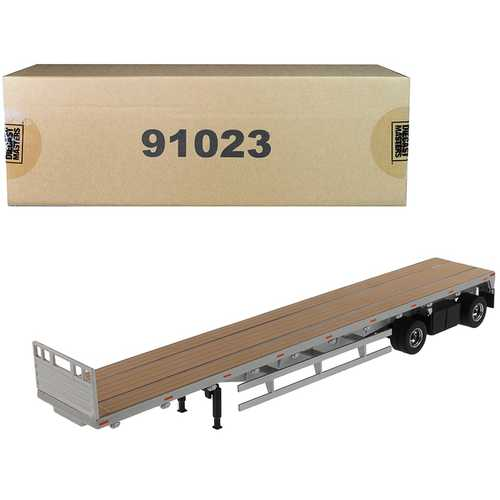 """53' Flat Bed Trailer Silver """"Transport Series"""" 1/50 Diecast Model by Diecast Masters"""