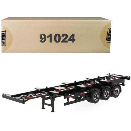 "40' Skeleton Trailer Black ""Transport Series"" 1/50 Diecast Model by Diecast Masters"
