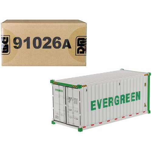 """20' Refrigerated Sea Container """"EverGreen"""" White """"Transport Series"""" 1/50 Model by Diecast Masters"""