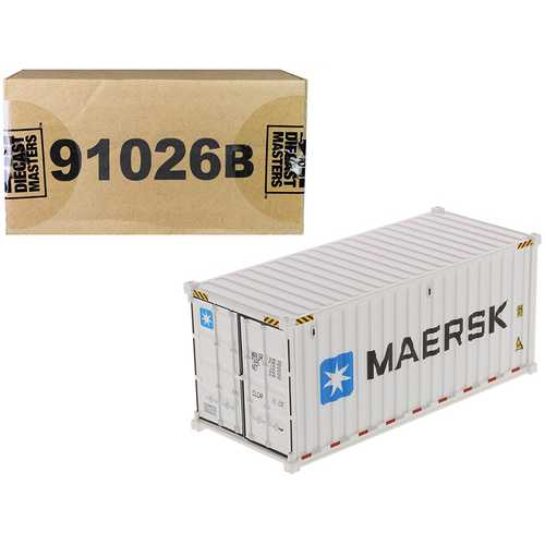 """20' Refrigerated Sea Container """"MAERSK"""" White """"Transport Series"""" 1/50 Model by Diecast Masters"""