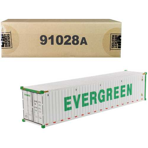 """40' Refrigerated Sea Container """"EverGreen"""" White """"Transport Series"""" 1/50 Model by Diecast Masters"""