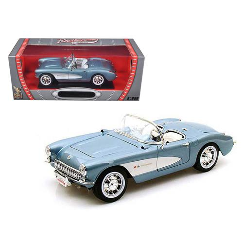 1957 Chevrolet Corvette Convertible Blue 1/18 Diecast Car Model by Road Signature