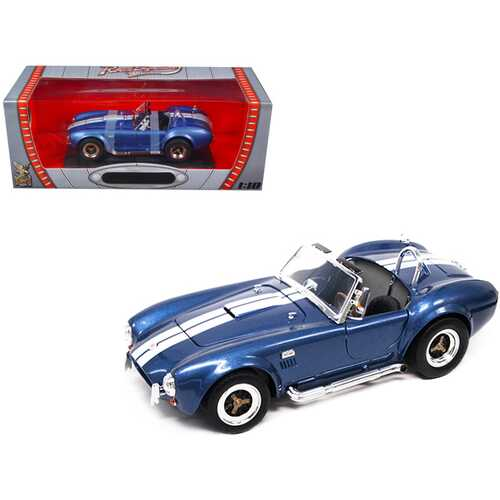1964 Shelby Cobra 427 S/C Blue Metallic with White Stripes 1/18 Diecast Model Car by Road Signature