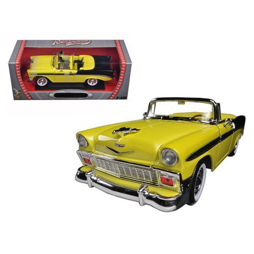 1956 Chevrolet Bel Air Convertible Yellow/Black 1/18 Diecast Car Model by Road Signature