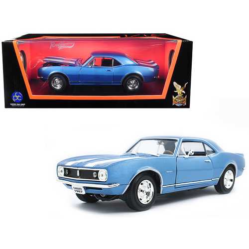 1967 Chevrolet Camaro Z/28 Metallic Blue with White Stripes 1/18 Diecast Model Car by Road Signature