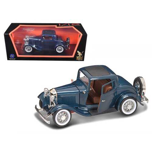 1932 Ford 3 Window Coupe Blue Metallic 1/18 Diecast Model Car by Road Signature